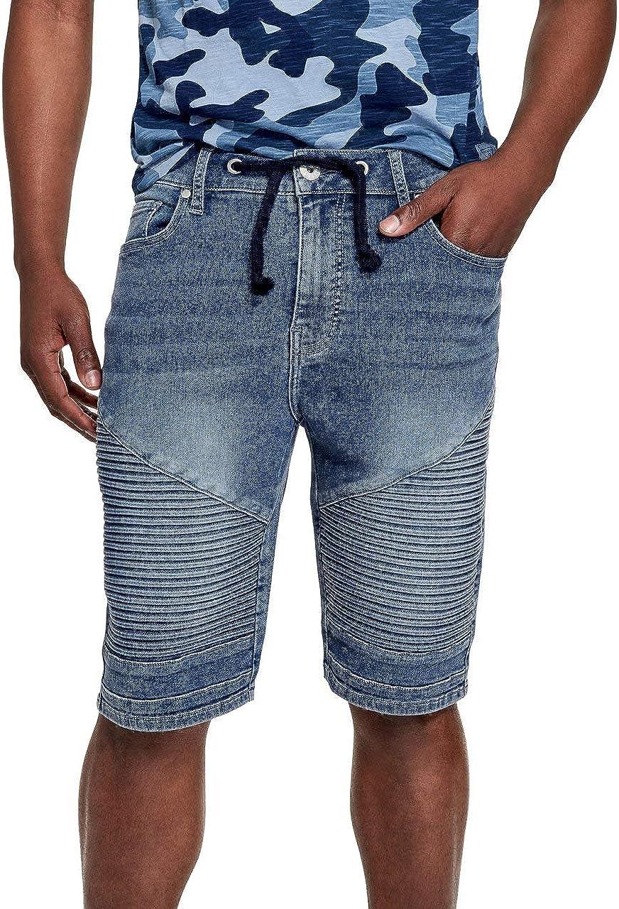 GUESS Factory Mens Morris Moto Knit Denim Shorts