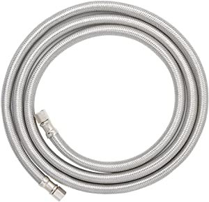 """TT FLEX Flexible Certified Appliance stainless steel braided ice maker hose Connector,1/4""""comp1/4""""comp,6FT"""
