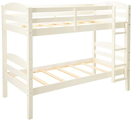 Walker Edison Furniture Twin Over Twin Solid Wood Bunk Bed White