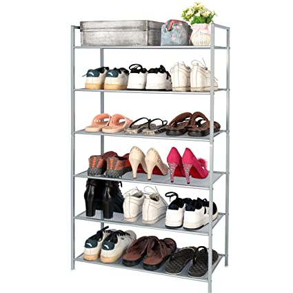 Merveilleux 3s 6 Tier Adjustable Shoe Rack Organizer Utility Shoe Storage Stackable  Shelves,Silver