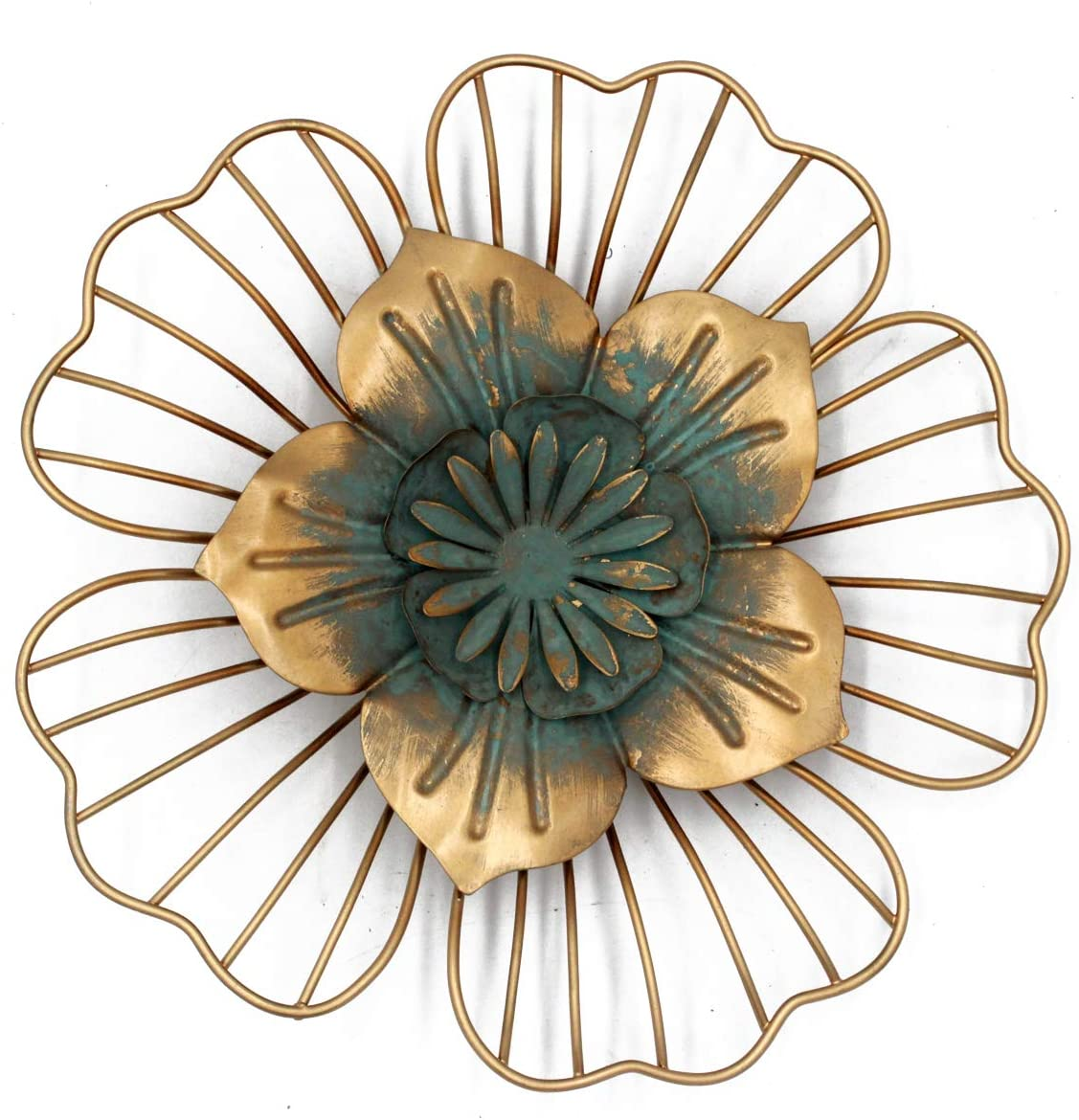 Golden Floral Wall Decoration Metal Flower Wall Decor 9.75x1.5x9.75 inches