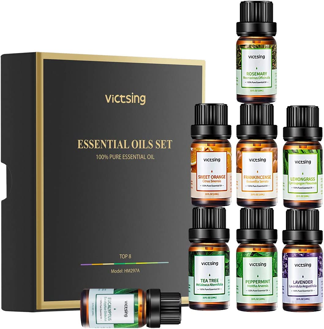 VicTsing Essential Oils Gift Set for Aromatherapy (8 x 10ml), 100% Pure Scented Oils for Oil Diffusers- Lavender, Lemongrass, Tea Tree, Sweet Orange, Eucalyptus, Peppermint, Rosemary, Frankincense