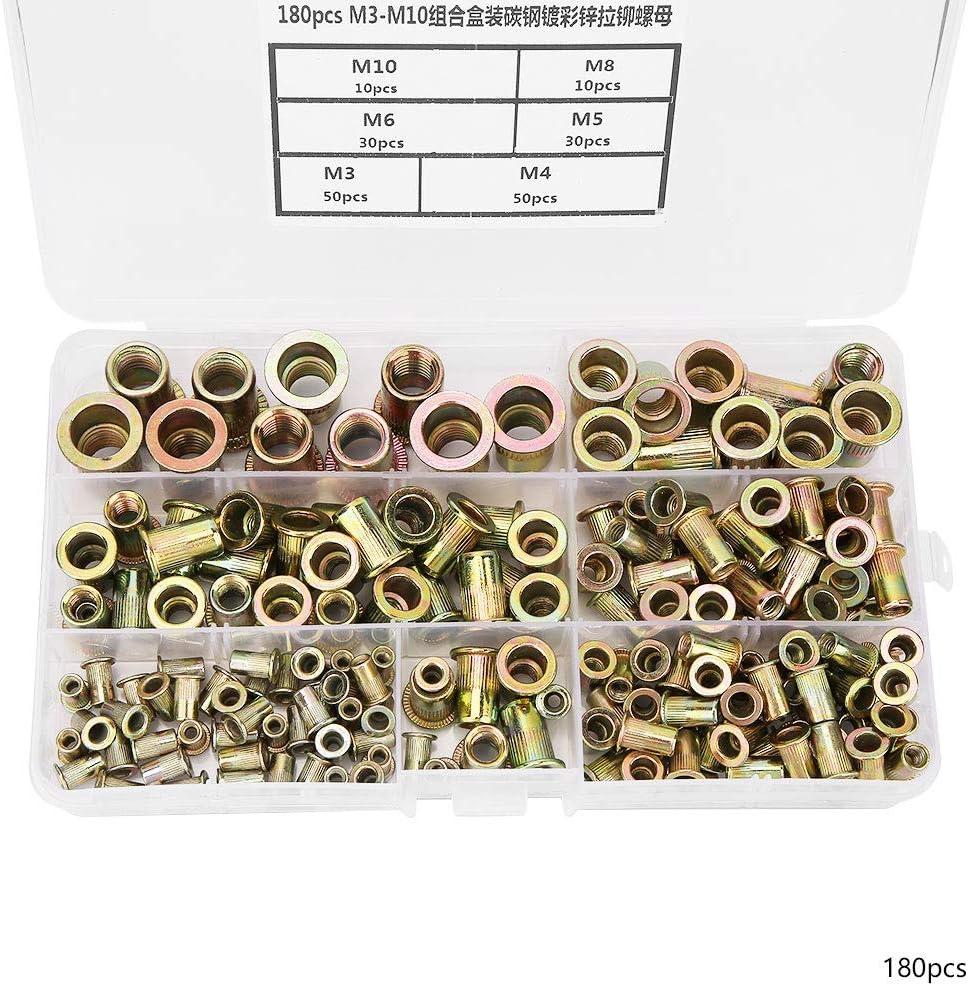 180Pcs M3-M10 Nietmutter Kit Verzinkter Kohlenstoffstahl Flachkopf Gewindeeinsatz Nietmutternsatz