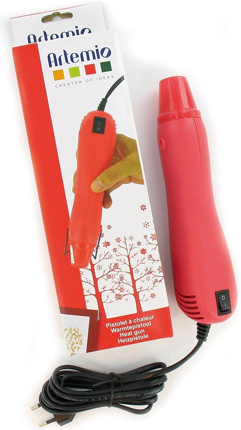Artemio PEHG5 Heat Gun - Embosador eléctrico (plástico, 9 x 6 x 26,5 cm), Color Rojo