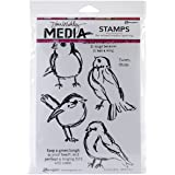 Ranger Dina Wakley Media Cling Stamps, 6 by 9-Inch, Scribbly Birds