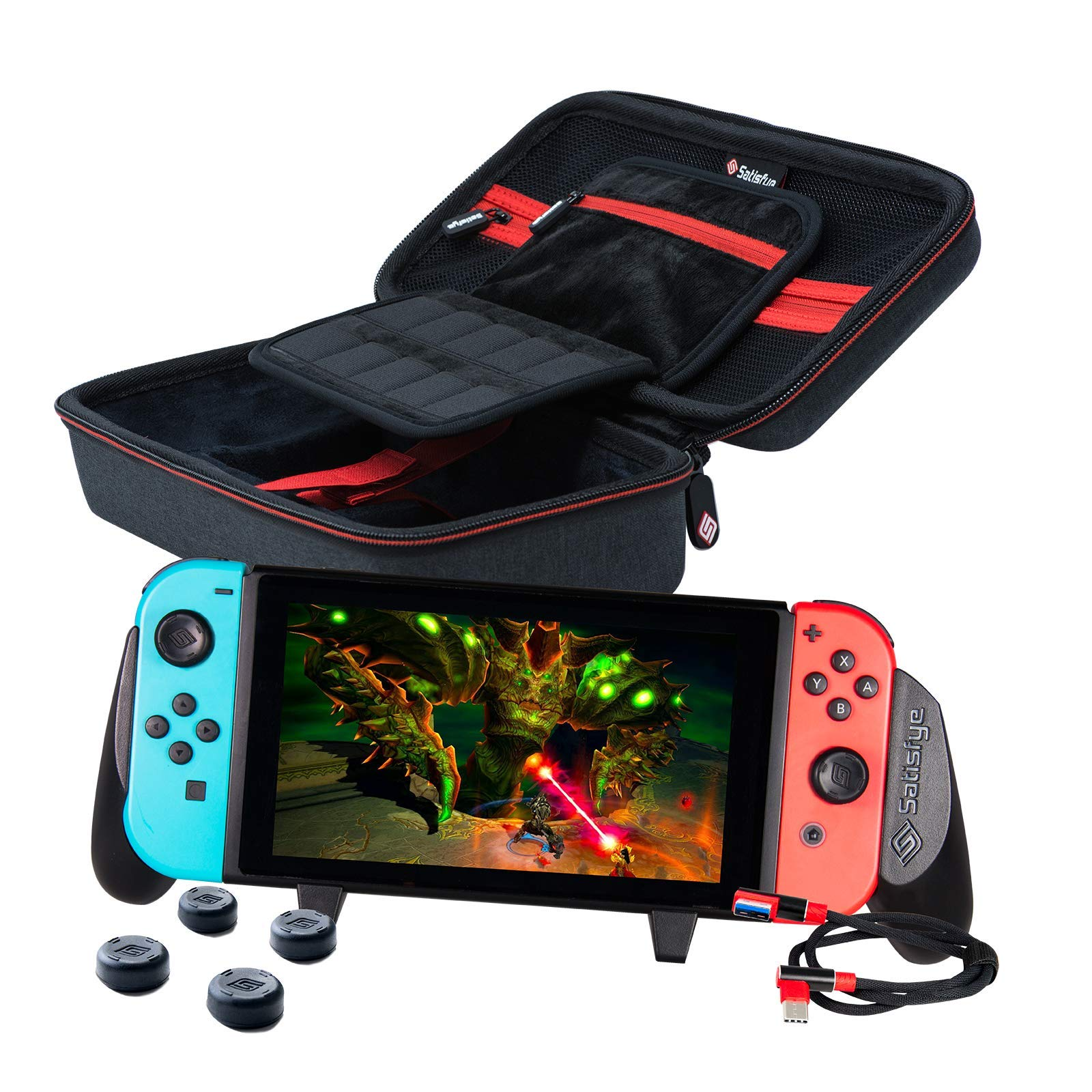 Satisfye - Accessories Bundle Compatible with the Nintendo Switch - Elite Bundle, The Switch Grip Case includes: Switch Grip, Switch Case and a Low Profile USB C charging cable. BONUS: 4 Thumbsticks by Satisfye