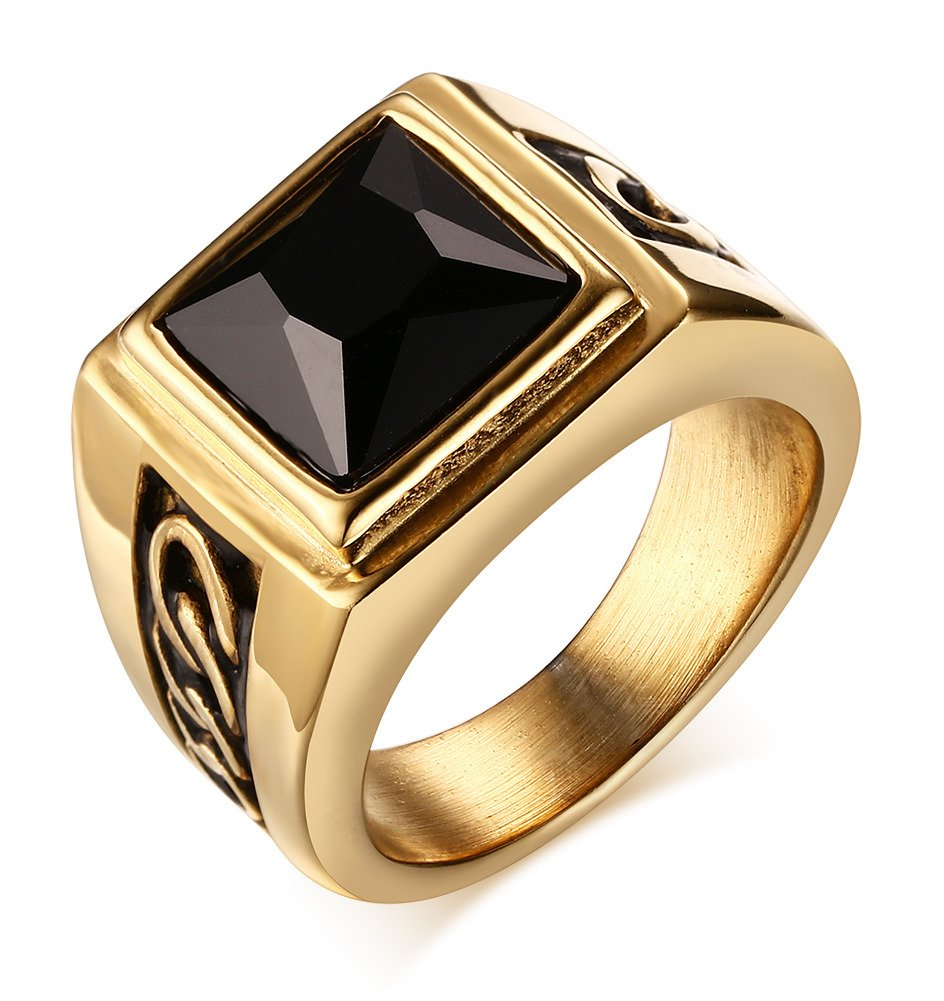 Mealguet Jewelry Stainless Steel Vintage Men's Ring with Agate Gemstone, 2 Colors, Size 8,9,10,11,12 MG--RC--215