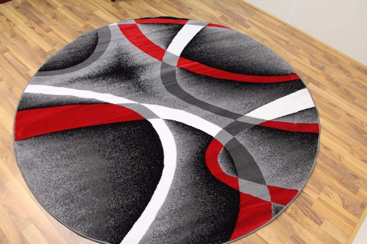 2305 Gray Black Red White Swirls 6 feet 5 inch Diameter Modern Abstract Area Rug