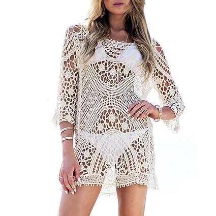 bf6c0b189f77 VANDOT Swimwear Beachwear Dress Pareo for Women Crochet Lace Bathing Suit  Long Sleeves Tunic Cover-