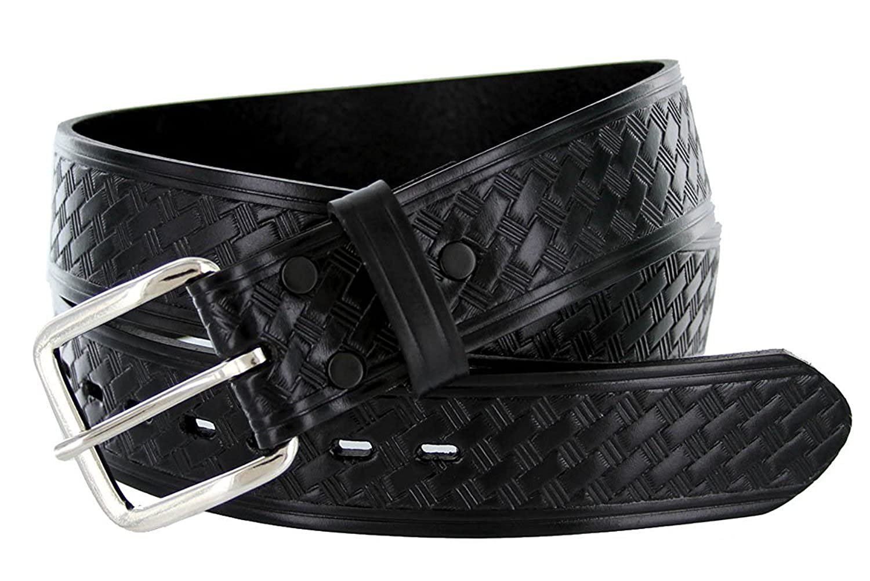Hagora Mens Black Genuine Solid Leather Basket Texture 1-1//2 Wide Buckle Belt