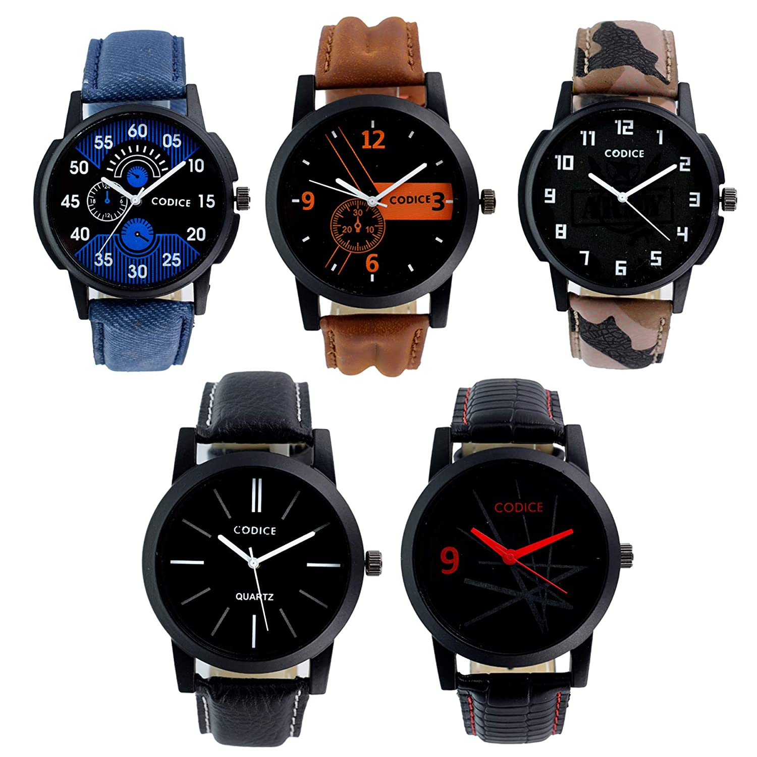 e8f125e0ea5 Buy Codice Analog Black Dial Men s Watch Combo(Set Of 5) Online at Low  Prices in India - Amazon.in