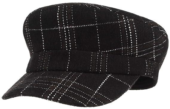 Gemvie Women s Wool Plaid Flat Hat Greek Fisherman Fiddler Cap Autumn Winter  Peaked Cabbie Newsboy Hat e8a0e1641b3e
