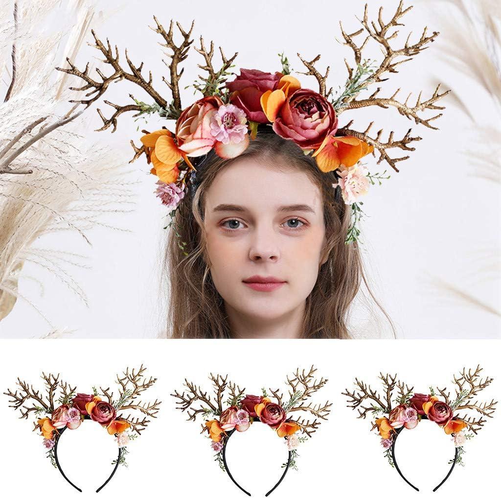 Goosun Christmas Headbands Hair Accessories Antlers Flower Hairband Girl Women Floral Garland Crown Halo Headpiece For Wedding Festival Party Christmas Cosplay Hair Hoop Handwear