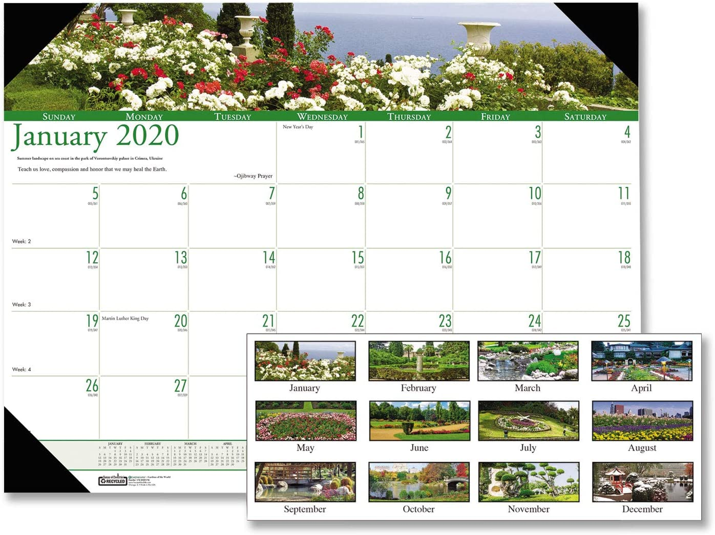 House of Doolittle 2020 Monthly Desk Pad Calendar, Earthscapes Gardens, 22 x 17 Inches, January - December (HOD174-20)