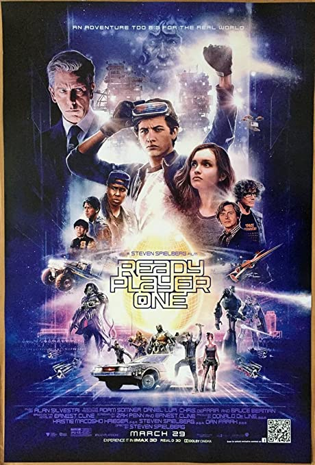 amazon com ready player one movie poster 2 sided original rare final 27x40 steven spielberg everything else ready player one movie poster 2 sided original rare final 27x40 steven spielberg