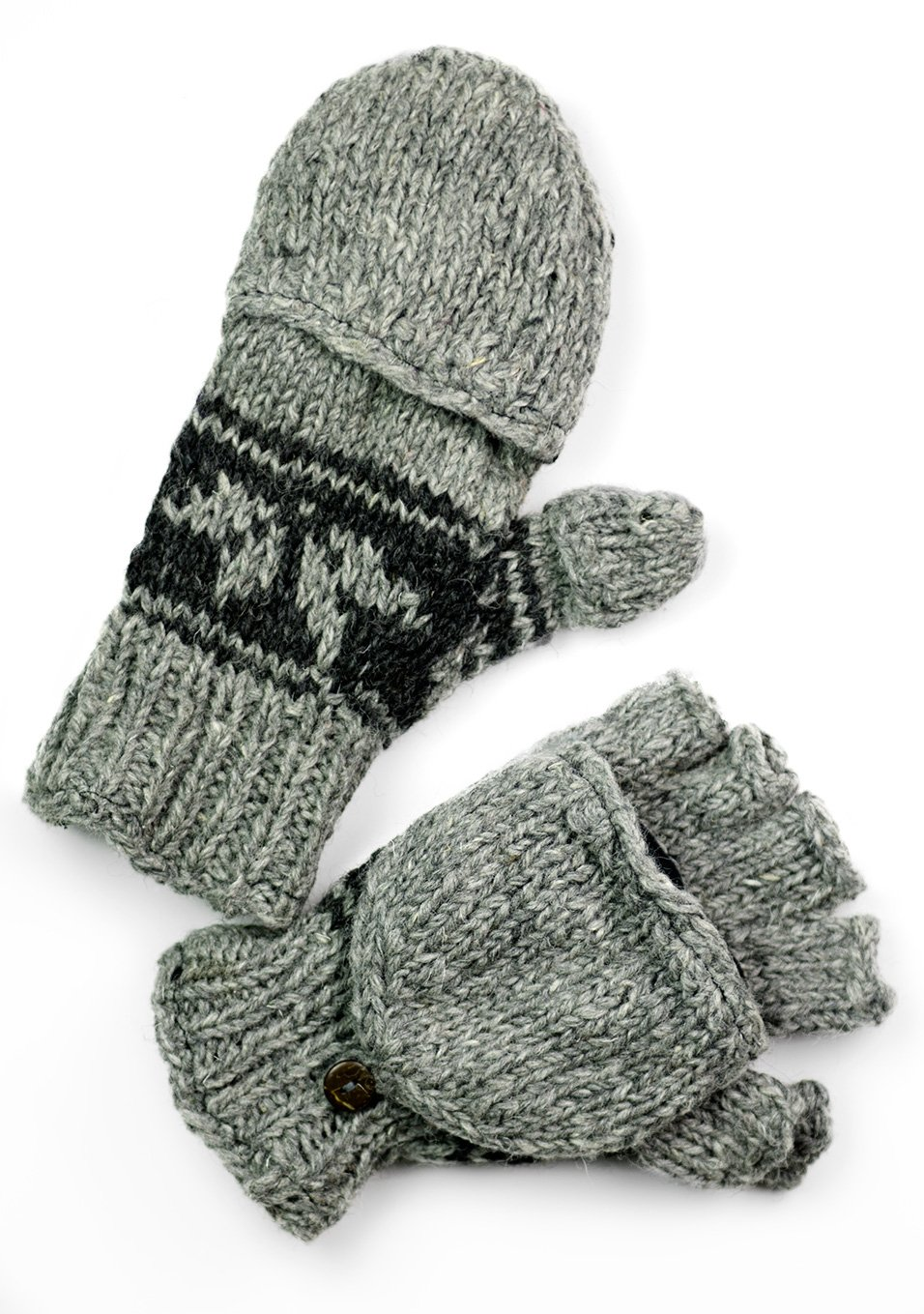 TCG Men's Hand Knit Wool Snowflake Glittens - Pewter & Charcoal