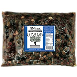 Roland Foods Greek Country Olive Mix, Whole Pitted Olives Marinated with Garlic and Pepperoncini Peppers, Specialty Imported Food, 5 pound (pack of 1) (71760)