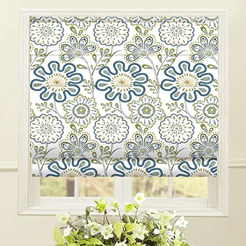 Artdix Roman Shades Blackout Window Shades – Blue Fabric Lined Custom Floral Roman Shades Blinds for Windows, Doors, French Doors, Kitchen Windows