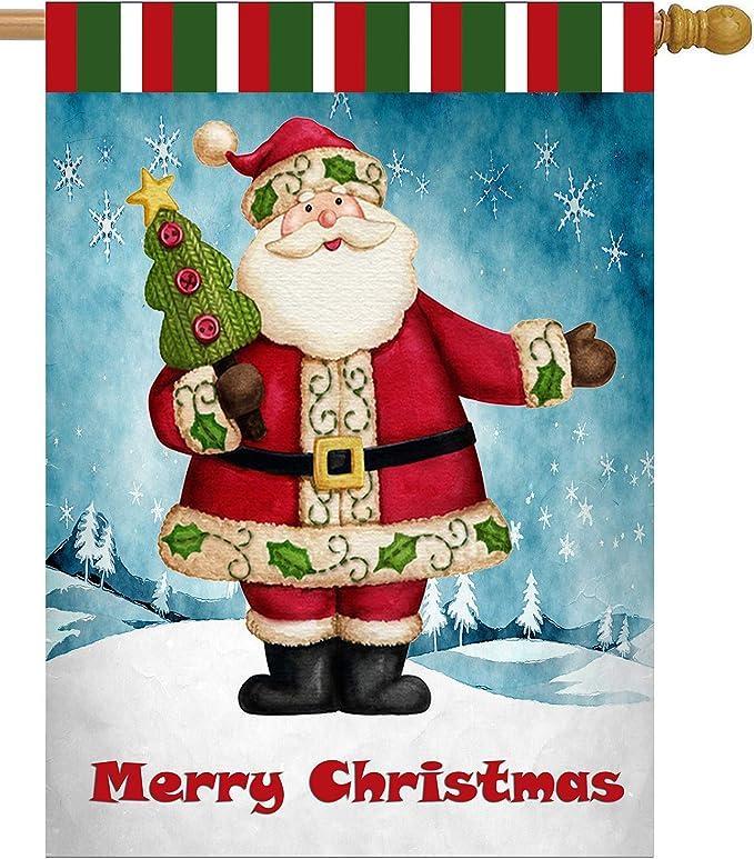 "Christmas Blessings Primitive House Flag Church Snow Double Sided 28/"" x 40/"""