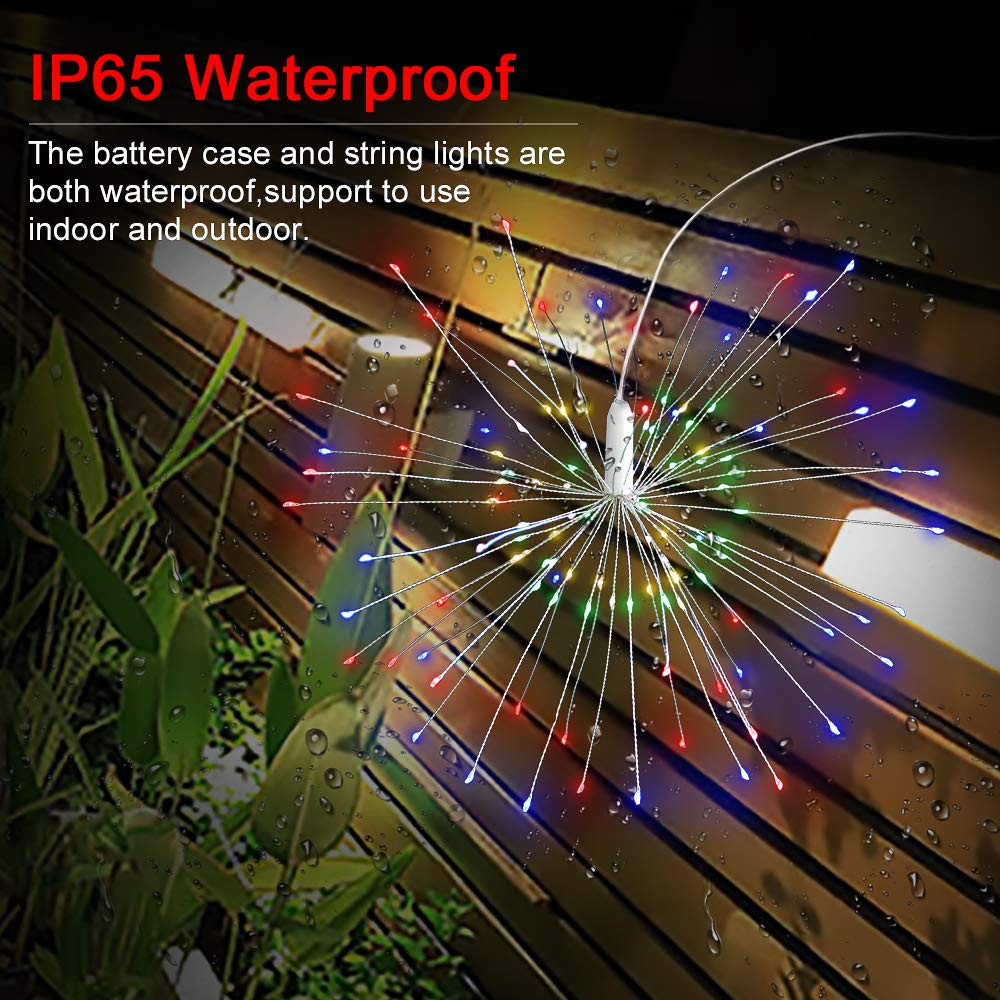 CREATIVE DESIGN 2 Pack 120LED Fairy String Lights, Waterproof Battery Operated Dimmable Christmas Lights Twinkle Lights Remote Control, 8 Modes Starry Wire Light Outdoor Indoor Decor Multicol