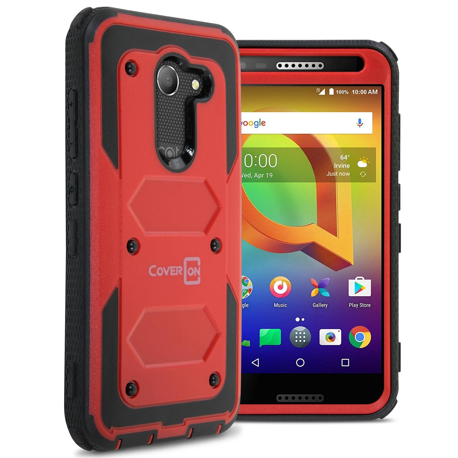 CoverON Heavy Duty Full Body Tank Series for Alcatel A30 / Zip/Kora Case, Red
