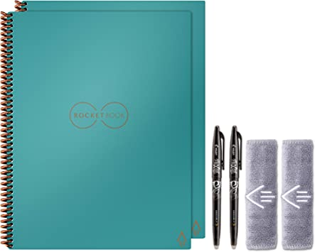 Rocketbook Fusion Smart Reusable Notebook 2-Pack Bundle with 2 Pens 2 Microfiber Cloths and 2 Pen Stations Included Black, Executive
