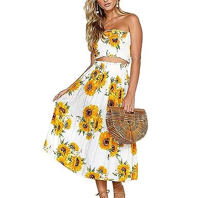 d6d8139eea0 QiuLan Women s Summer Floral Strapless Crop Top Maxi Skirt Set 2 Piece  Outfit Beach Dress(S