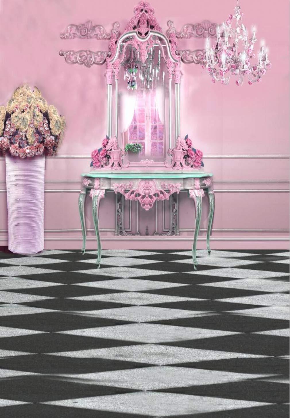 ピンク プリンセス 部屋 背景 写真撮影用 ロマンチック ドレッシングテーブル キャンドルシャンデリア ファンタジー インテリア 写真ブース 背景 5x7フィート   B07NZWLX1Z