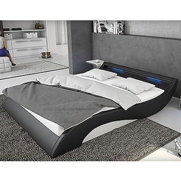 Polster-Bett 140x200 cm schwarz-weiß aus Kunstleder mit blauer  LED-Beleuchtung | Mavani | Das Kunst-Leder-Bett ist ein edles Designer-Bett  | ...