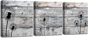 3 Panel Canvas Wall Art Dandelion Flowers Butterfly on Grey Vintage Wood Board Background Floral Pictures Stretched and Framed for Bedroom Bathroom Home Decor Ready to Hang 12x12inch