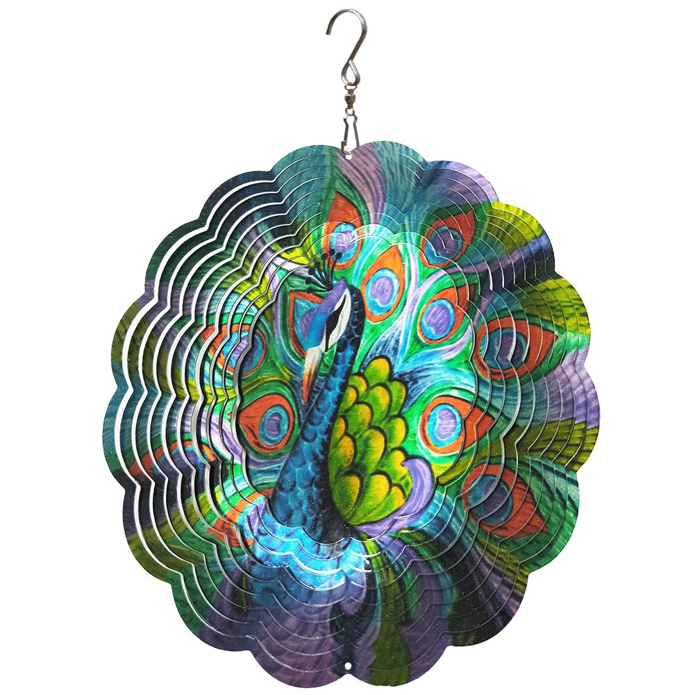 FONMY Wind Spinner Stainless Steel 3D Hanging Garden Decoration for Indoor Outdoor Metal Wind Spinners Peacock-12inch