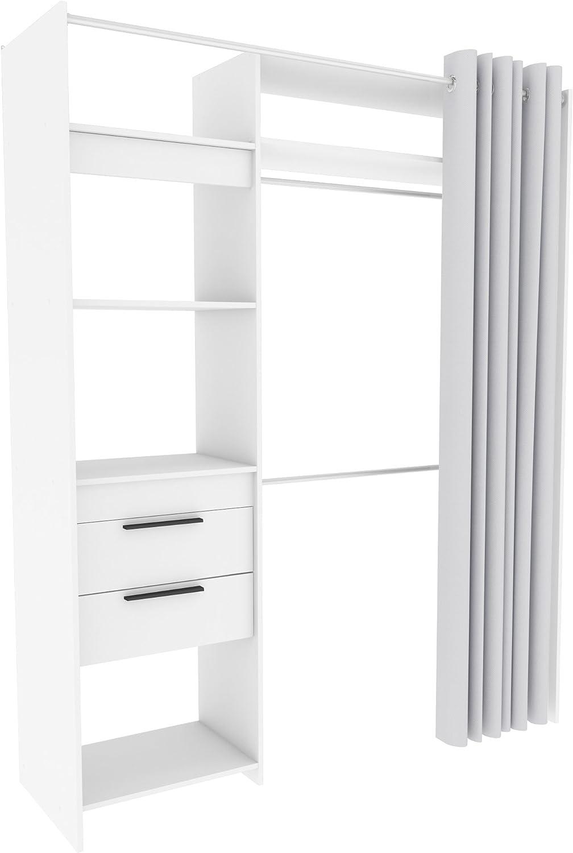 Demeyere Armario de Vestir, Aglomerado, Blanco Perla, 168.2 x 50 x 208.7 cm: Amazon.es: Hogar