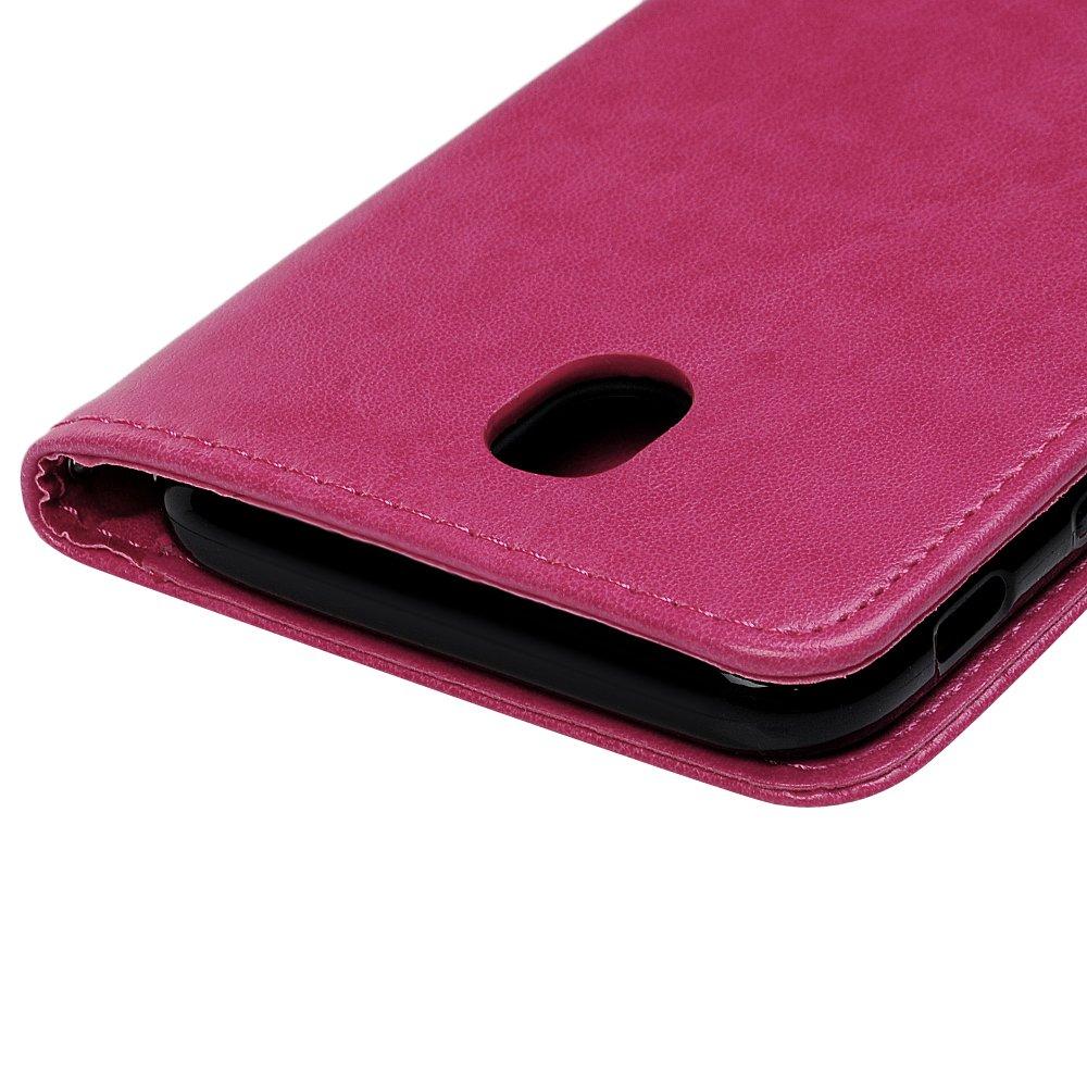 MAXFE.CO Coque pour Galaxy J7 2017 Cuir Portefeuille PU Housse Samsung Galaxy J7 2017 J730 /Étui Fin Smart Magn/étique avec Stand Pliant et Support de T/él/éphone en Silicone Gel TPU CoqueOr Rose