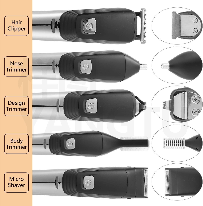 Cortadora de cabello y barba Six-in-one, afeitadora eléctrica profesional para hombres para nariz y orejas, peluquería recargable a prueba de agua con cargador (Negro)