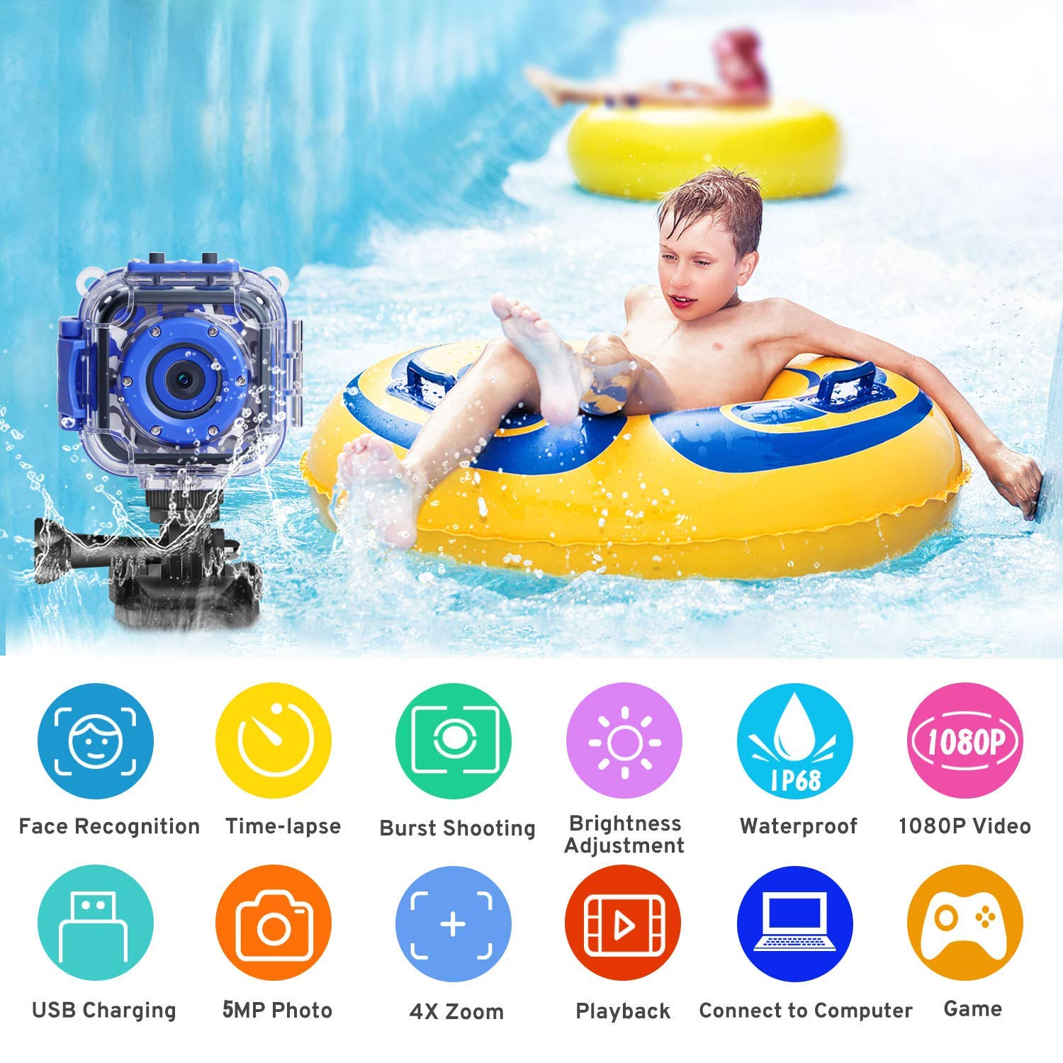 DROGRACE Children Kids Camera Waterproof Digital Video HD Action Camera 1080P Sports Camera Camcorder DV for Boys Birthday Holiday Gift Learn Camera Toy 1.77\'\' LCD Screen (Navy Blue)