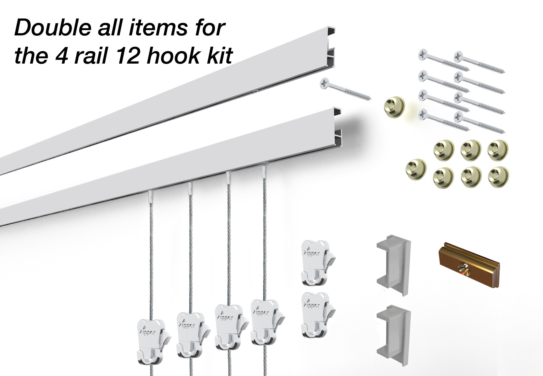 STAS Cliprail Complete Art Hanging Gallery System (4 rails 12 hooks and 8 cables, Matte Silver)