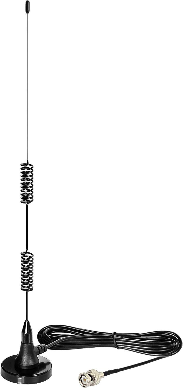 Bingfu 20-1300MHz Police Scanner Antenna Radio Scanner Magnetic Base Antenna HF VHF UHF Two Way Ham Radio BNC Male Antenna Compatible with Uniden Bearcat Whistler Radio Shack Police Radio Scanner