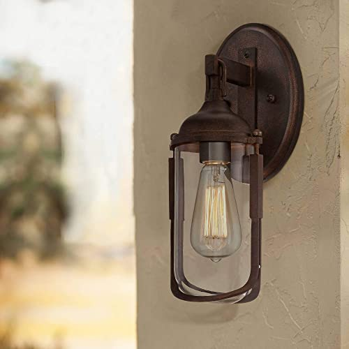 Anselda Vintage Industrial Outdoor Wall Light Fixture Bronze 15″ Clear Glass Edison Bulb