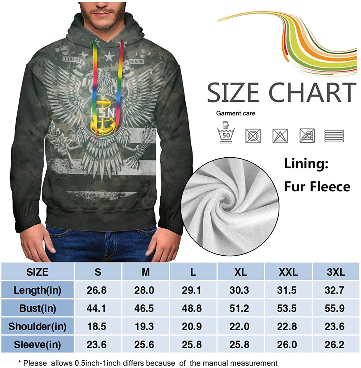 Sweatshirt Hoodies MUSICOT Mens Athletic Pullover Cozy Sport Outwear Navy Senior Chief Petty Officer SCPO