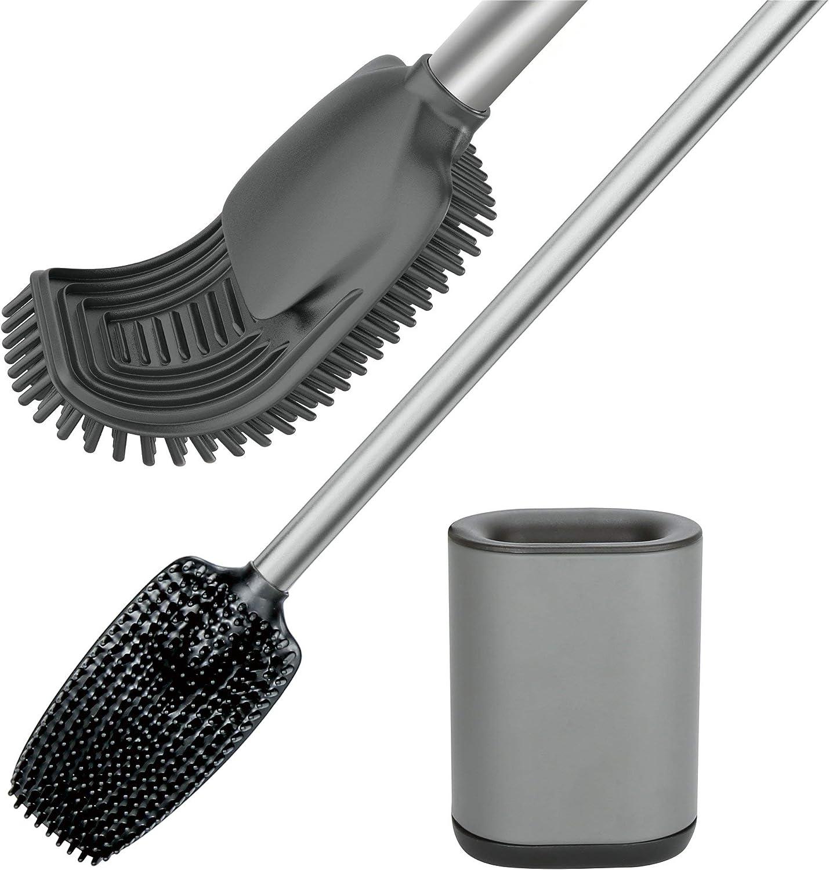 Juego de Cepillo de Limpieza para Inodoro de Silicona con Suave Azul Juego de Soporte para Cepillo de ba/ño Rincr Cepillo y Soporte de Silicona para Inodoro
