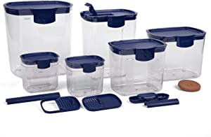 Progressive International Preworks ProKeeper 6 Piece Kitchen Baker Clear Storage Organization Container Set, Blue