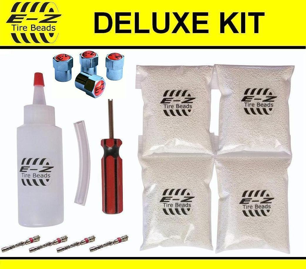 E-Z Tire Balance Beads Deluxe Kit for 35x12.50r15 35x12.50r16 35x12.50r17 35x14.50r15 35x14.50r16 35x14.50r17 (4 bags of 8 oz) 32 Ounces Balancing Beads, Applicator, Filtered Valve Cores, Caps E-Z Tire Beads TBDK8-4-35