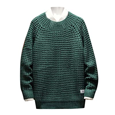 WINJUD Mens Sweater Autumn Winter Warm Crew Neck Pullover Solid Knitted Casual Top(Green,L): Clothing