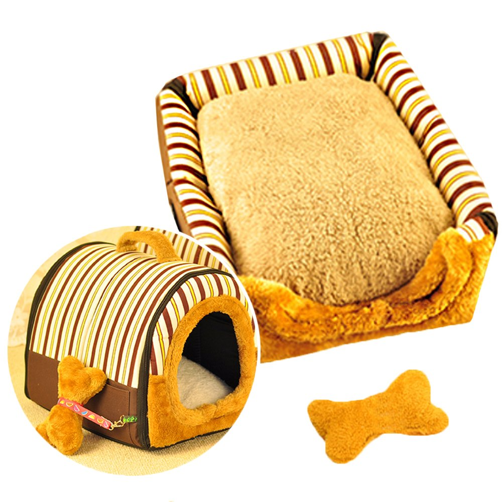 Actnow 2-in-1 Pet House and portable divano antiscivolo cane gatto Igloo Beds, lovely Pet House Gift for Pet 3-dimensioni Coffee Stripes