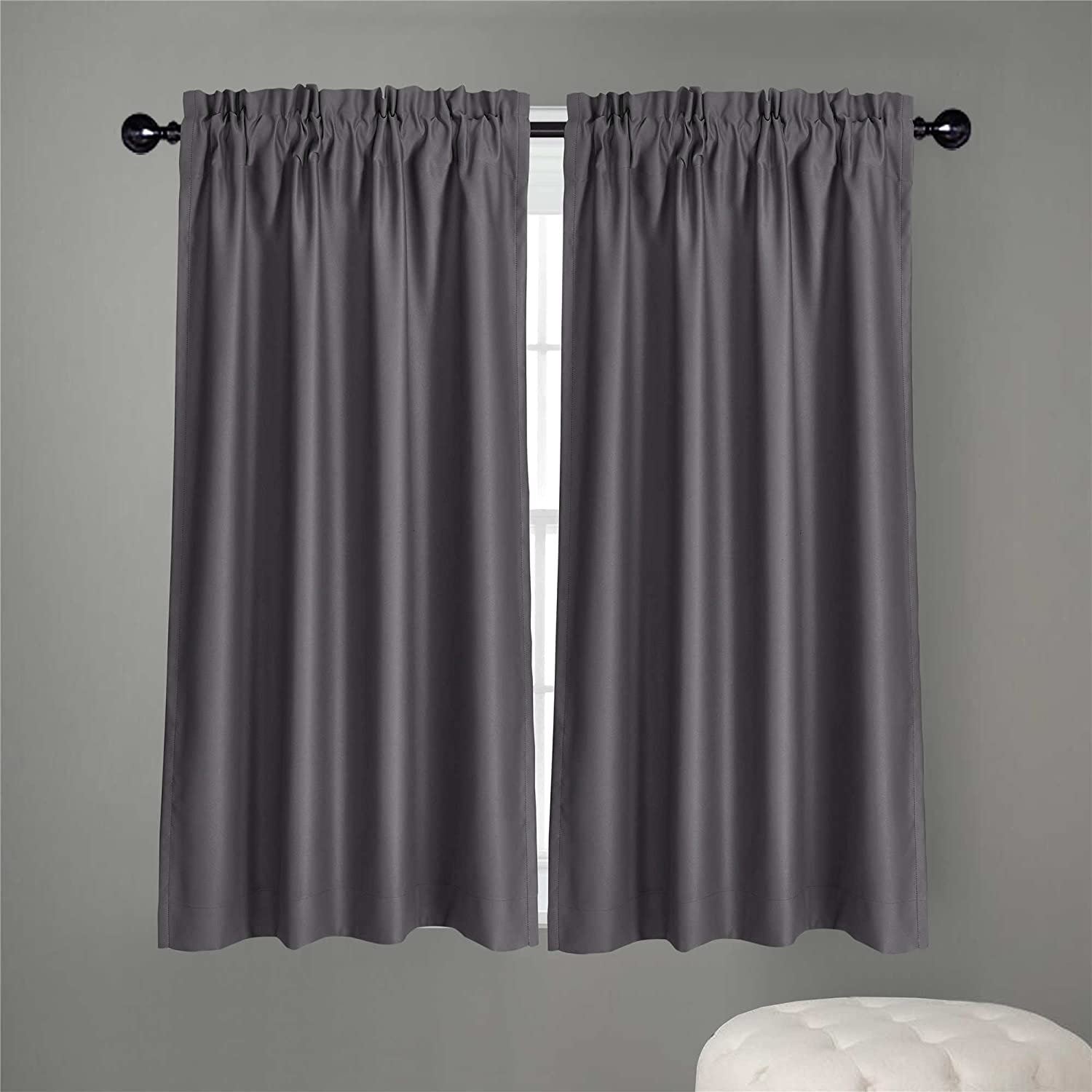 "Dreaming Casa Solid Room Darkening Blackout Kitchen Curtains Tiers Swags Valances Draperies for Café, Bath, Laundry, Bedroom 2 Panels Grey Rod Pocket, 2(42"" W x 36"" L)"