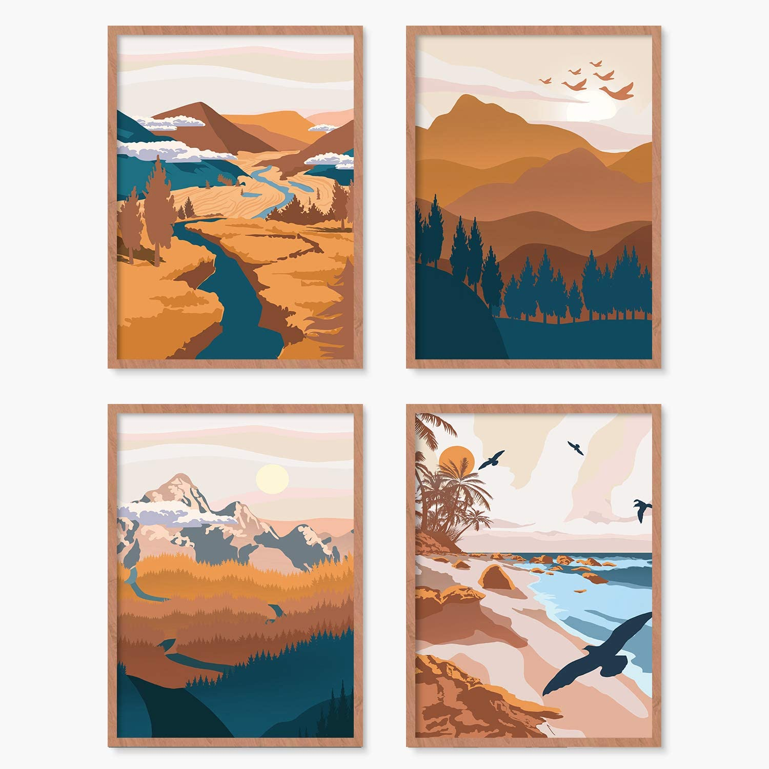 YUMKNOW Boho Mountain Wall Decor - Umframed 8x10 Set of 4, Vintage Mid Century Modern Art for Bedroom, Minimalist Nature Wall Postes Prints for Living Room, Terracotta Aesthetic Bathroom Office Gifts