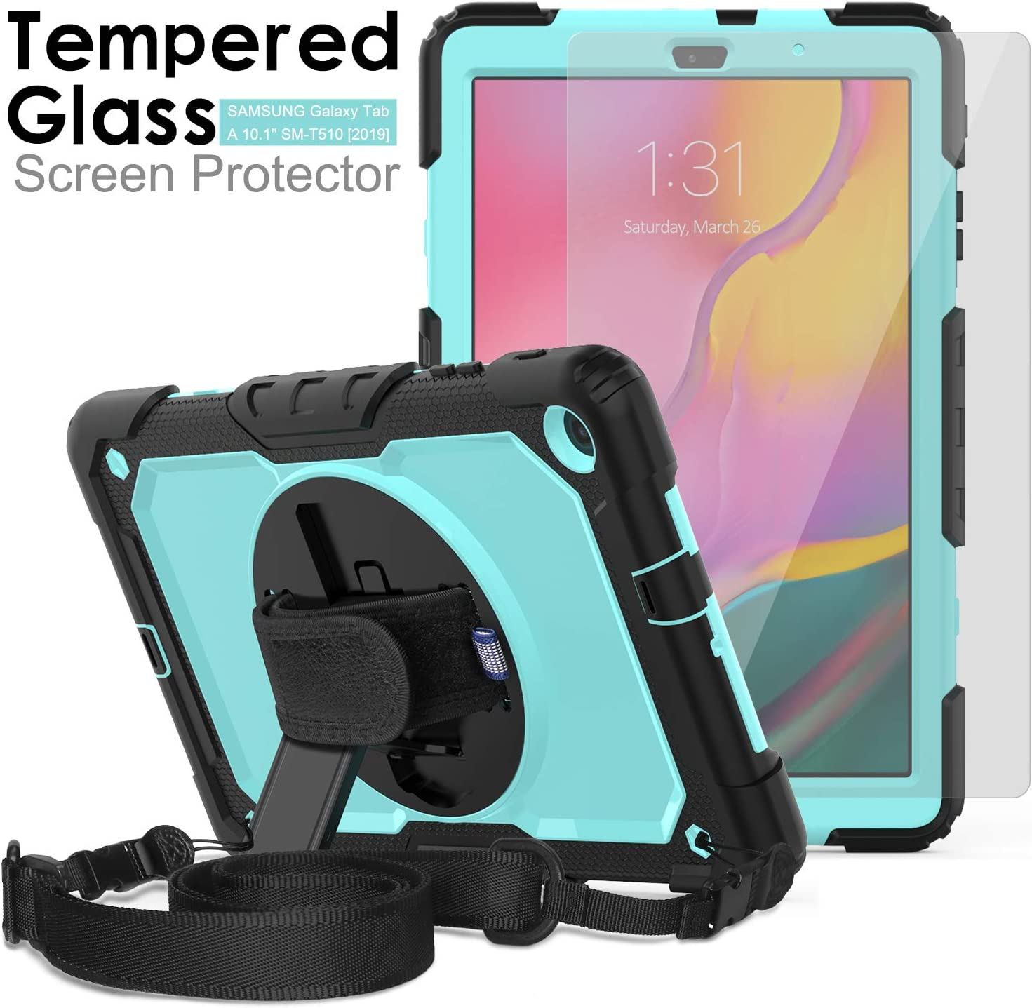Samsung Galaxy Tab A 10.1 T510/T515 Case 2019, [Removable Shoulder Strap] Ambison Full Body Protective Case with Tempered Glass Screen Protector, Rotatable Kickstand & Hand Strap (Sky Blue & Black)
