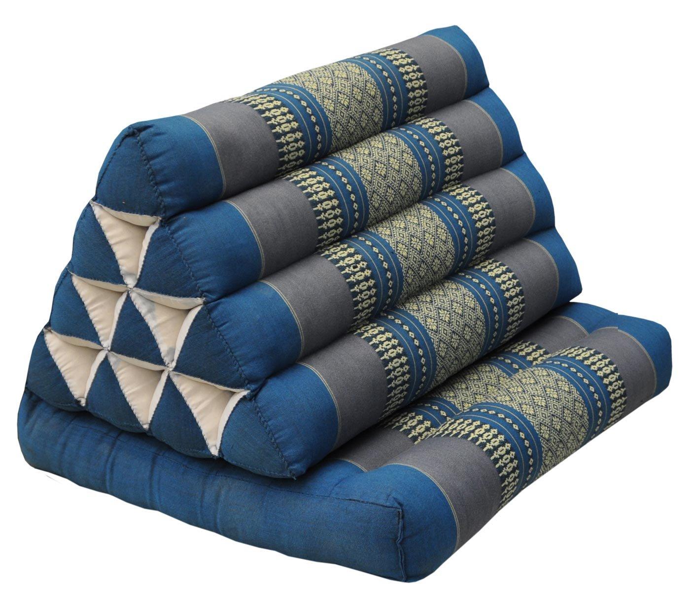 Kapok Thai Cushion Recliner with A triangular Cushion-Blue / Grey (81901) by Wilai