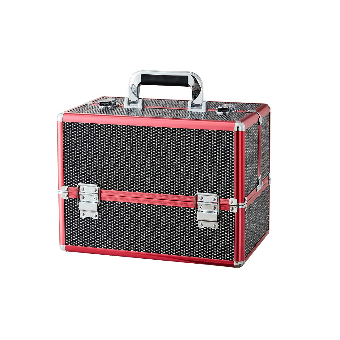 Makeup case - Professional Portable Red Aluminum Cosmetic Organizer Box With Folding Trays and Locks Black