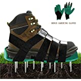 Lawn Aerator Shoes Heavy Duty Aerating Spiked Soil Sandals with 4 Adjustable Straps and Metal Buckles for Aerating Your Lawn Yard